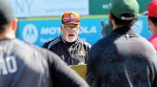 Long Island Ducks manager Wally Backman addresses the
