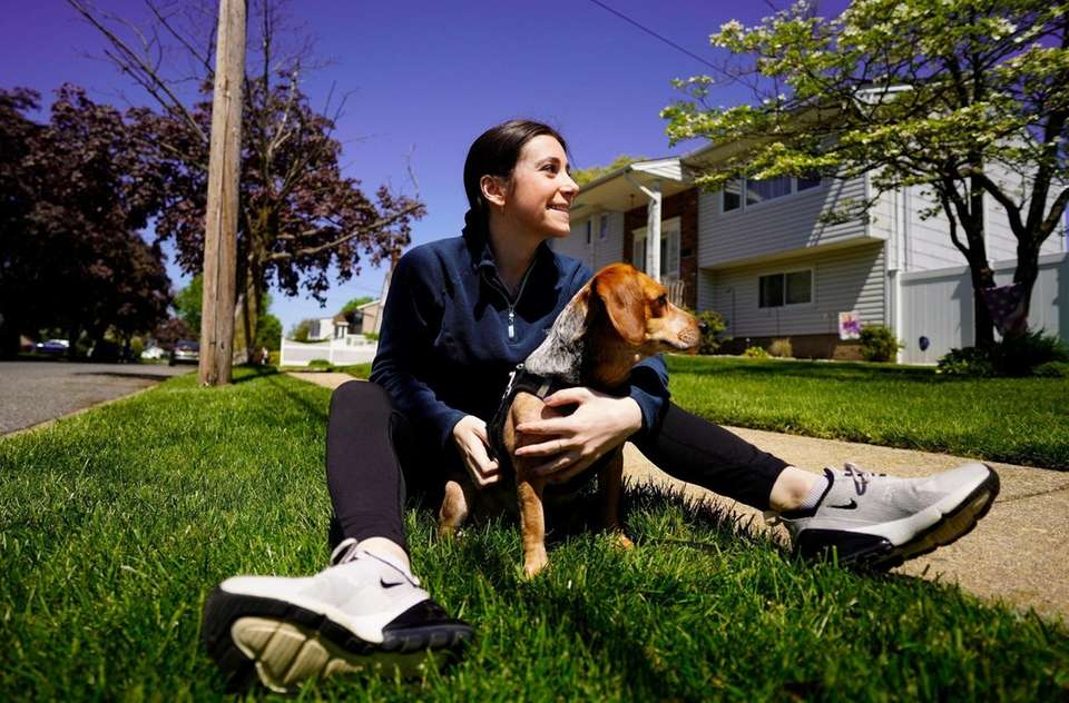 Jess Dato and Hazel, her dog she adopted