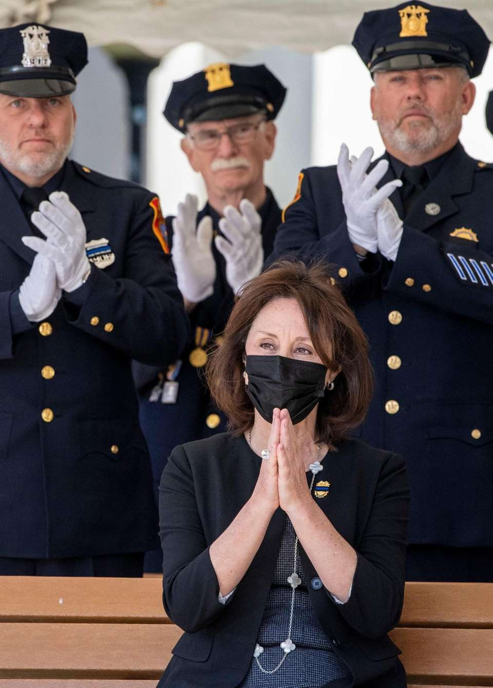 Suffolk County Police Commissioner Geraldine Hart says goodbye