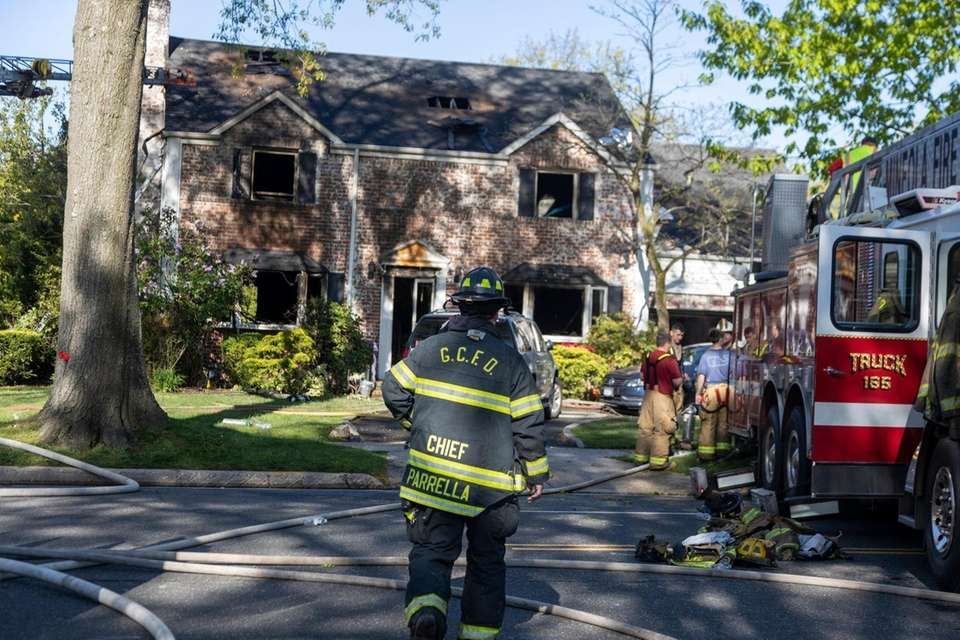 Nassau Police and firefighters from multiple departments respond