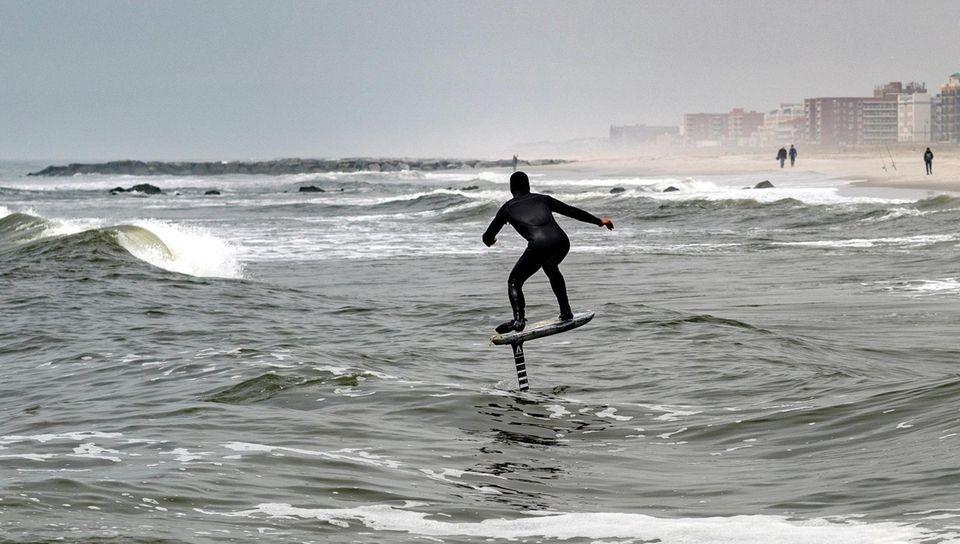 Matt DeBruin of Long Beach rides a hydrofoil