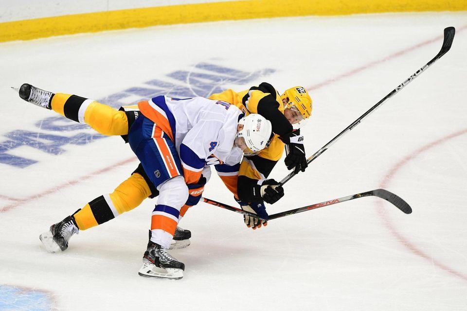 Andy Greene #4 of the New York Islanders