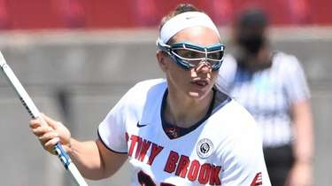 Stony Brook attacker Taryn Ohlmiller controls the ball