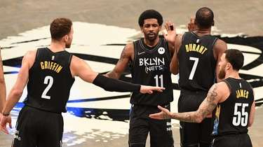 Nets forward Blake Griffin, guard Kyrie Irving, forward