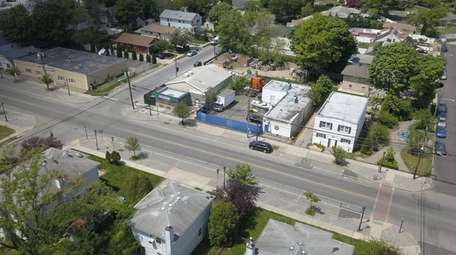 An aerial view of properties near the intersection