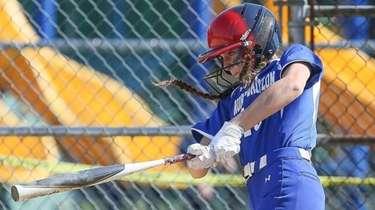 North Babylon's Madison Picerno hits an RBI Double