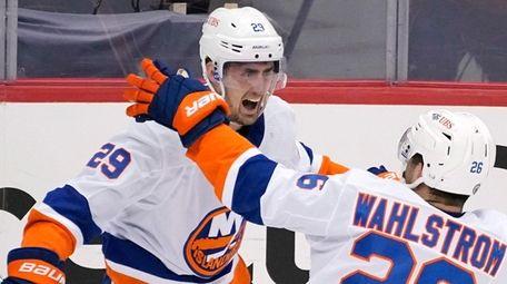 Islanders' Brock Nelson (29) celebrates after scoring during