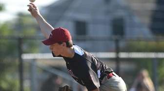 Tyler Cox #9, Clarke pitcher, delivers to the