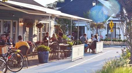 Outdoor dining at Flora in Westhampton Beach.