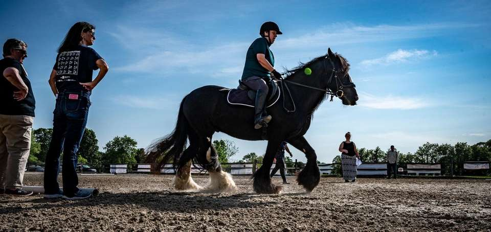Suzanne Ament, a blind dressage competitor, practices Thursday