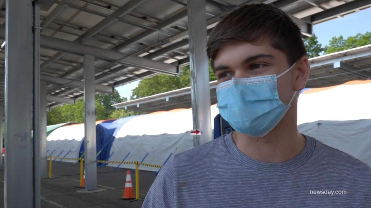 At a COVID-19 vaccination site in Hauppauge on