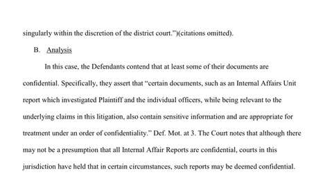 An excerpt from the judge's order for confidentiality