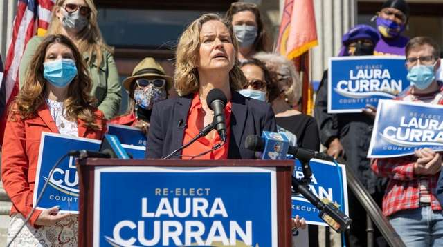 Nassau County Executive Laura Curran gathers with supporters