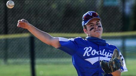 Roslyn's Hayden Leiderman throws on Thursday, May 20,