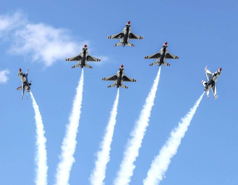 The U.S. Air Force Thunderbirds, seen here practicing
