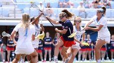 Stony Brook women's lacrosse team in action Saturday