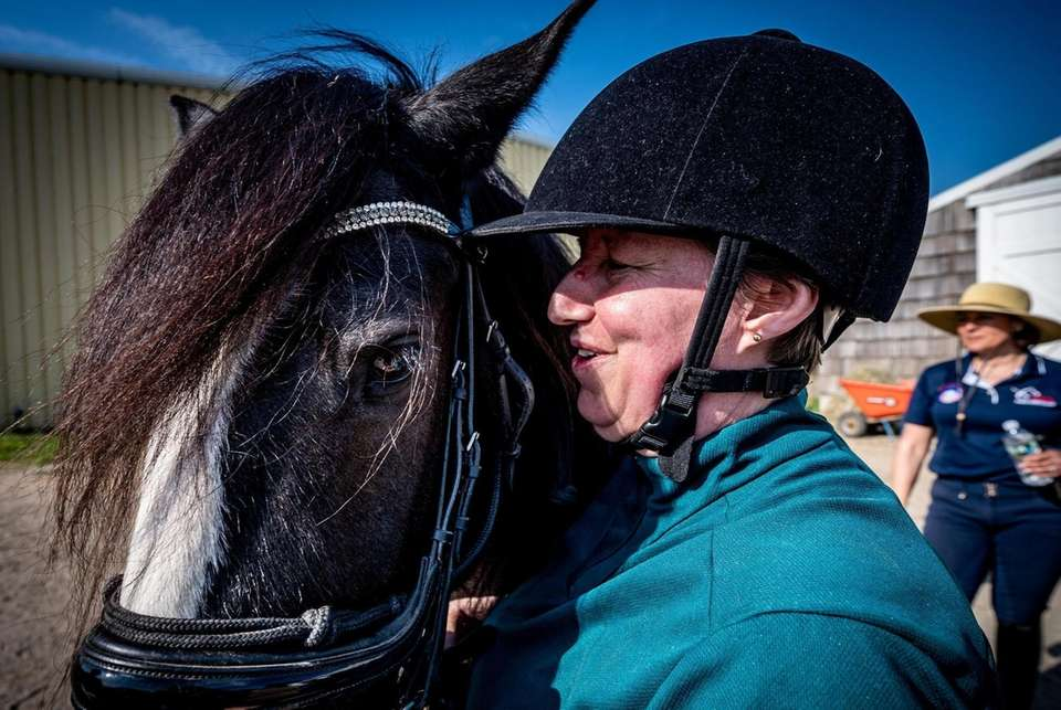 Suzanne Ament, a blind dressage competitor, praises her