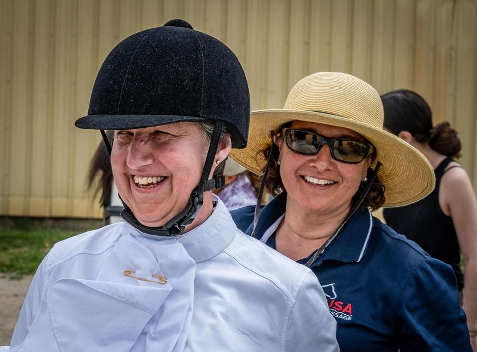 Suzanne Ament, a blind dressage competitor, with trainer