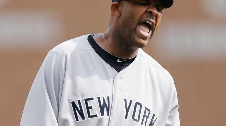 CC Sabathia reacts after getting the final out