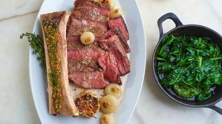 A ribeye for two with bone marrow, a