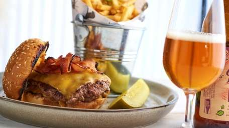 The double-smashed burger with Shelburne Cheddar cheese and