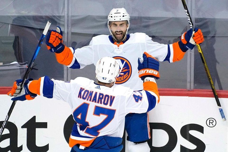 New York Islanders' Jordan Eberle (7) celebrates his