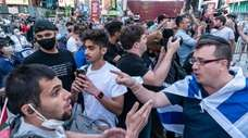 Pro-Israel and pro-Palestinian protesters clashed at a May