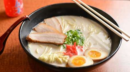 Ramen with slow-cooked chashu pork, marinated soft boiled