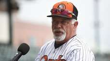 Wally Backman, Long Island Ducks manager, speaks during