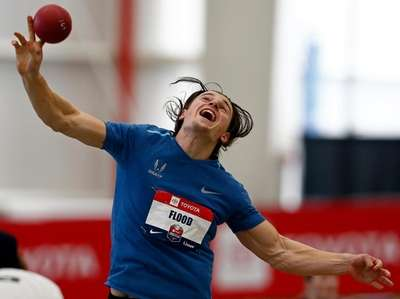 Jack Flood competes in the shot put part