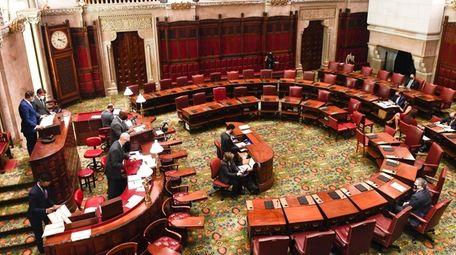 The Senate Chamber floor during a legislative session