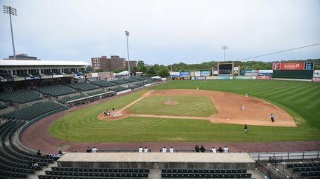An empty Fairfield Properties Ballpark in Central Islip