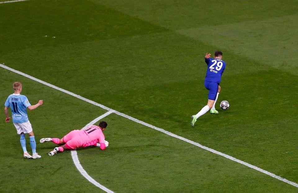 Chelsea's Kai Havertz scores the opening goal during