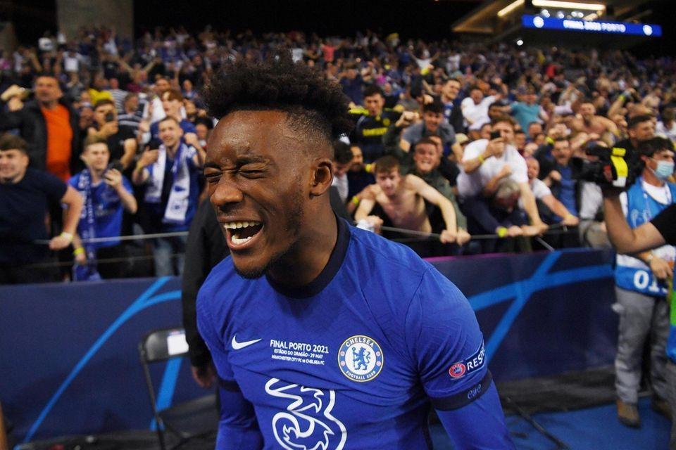 Callum Hudson-Odoi of Chelsea celebrates following victory during