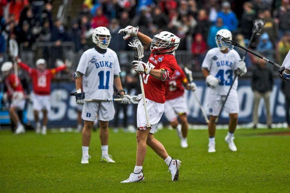 Maryland's Anthony Demaio (16) celebrates after scoring a