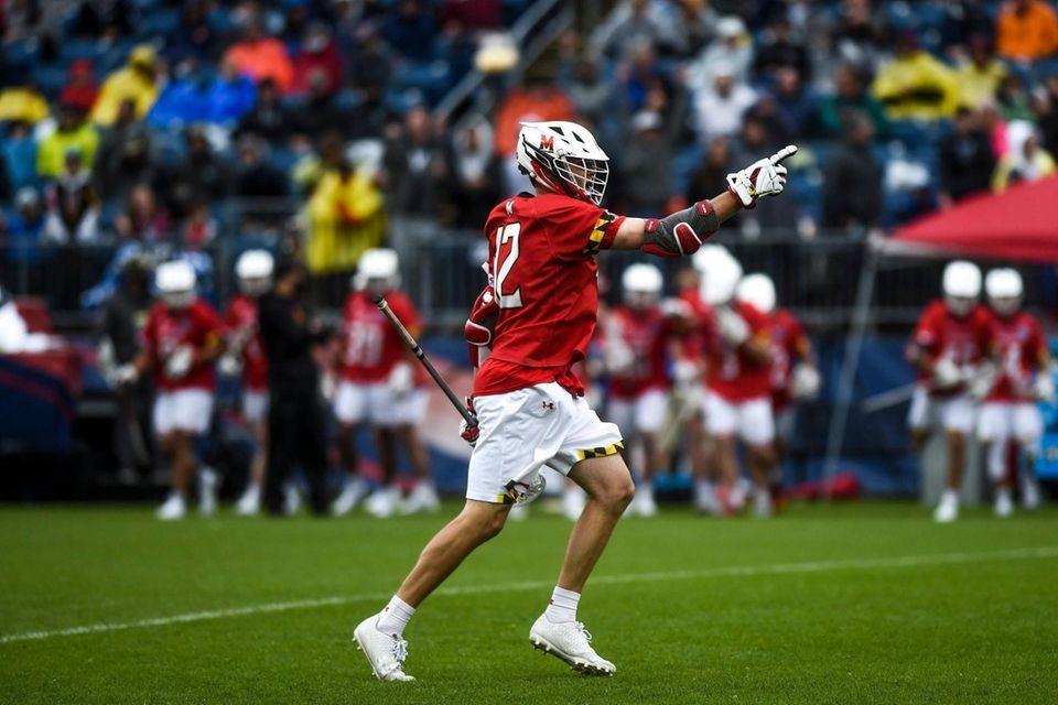 Maryland's Logan Wisnauskas (12) celebrates a goal against