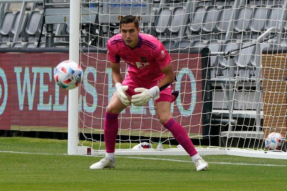 Los Angeles FC goalkeeper Pablo Sisniega (23) makes