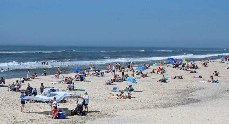 Crowds at Smith Point Beach in Shirley on