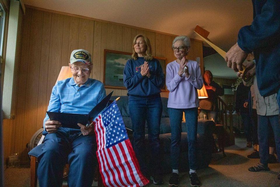 World War II veteran Sam Lukas recieves a
