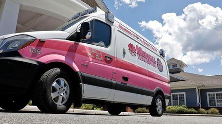 """Miss Vicki"" adorns a pink Medical Transport ambulance"