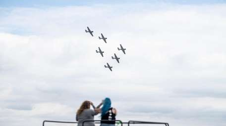 The Geico Skytypers fly in formation at the