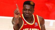 Clint Capela of the Atlanta Hawks reacts in