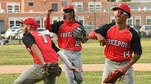 Freeports outfielders, Darlyn Liberato (7), Adrian Marine (12)