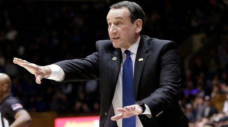 Duke head coach Mike Krzyzewski reacts to a