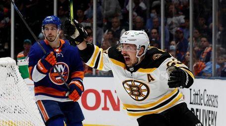 Brad Marchand #63 of the Boston Bruins celebrates