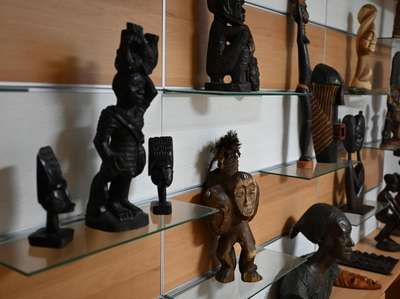 African artifacts are displayed at the museum.