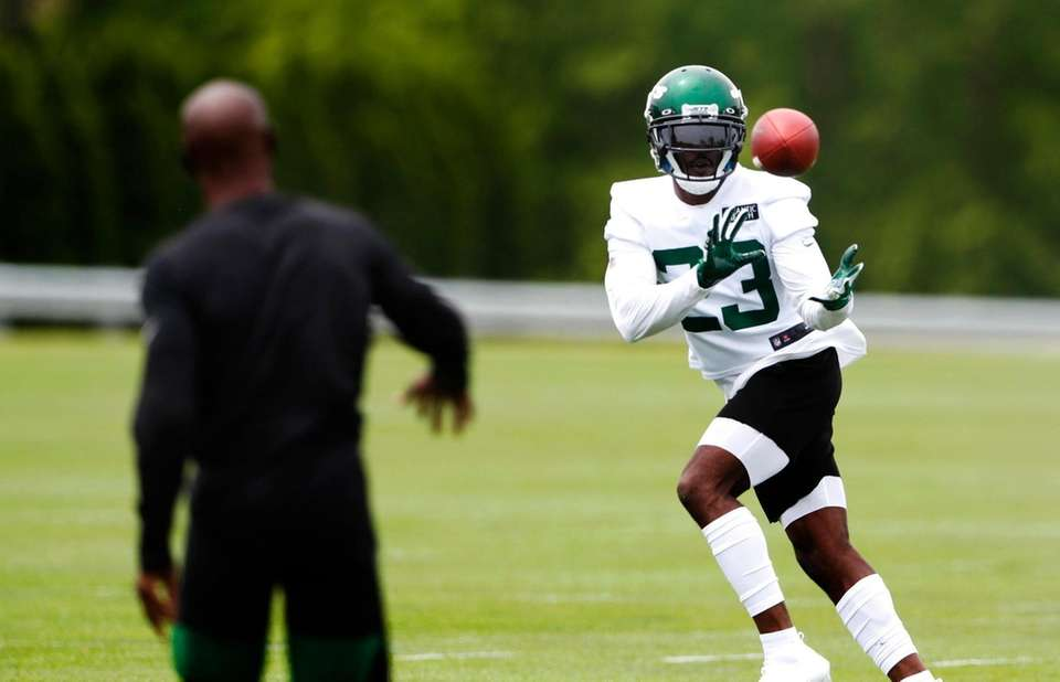 Running back Tevin Coleman during a Jets OTA
