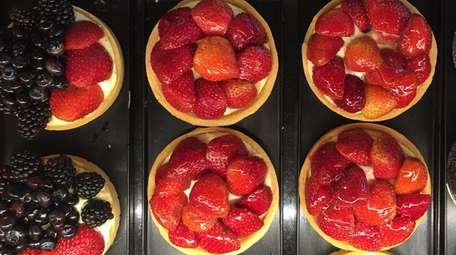 Raspberry and strawberry tarts at the French Workshop,