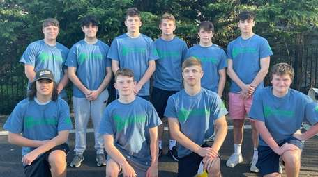 A group of Eastport-South Manor student-athletes comprise a