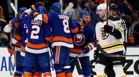 Kyle Palmieri of the New York Islanders celebrates
